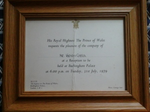 The invitation to Vernon Corea of the BBC extended by HRH Prince Charles, the Prince of Wales. This was Vernon's first visit to Buckingham Palace.
