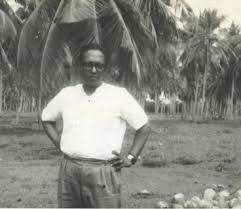 Photograph from the early 1970s of Sri Lankan broadcaster Vernon Corea on a Coconut Estate in Chilaw - his home town. Chilaw was known for three 'C's - Crabs, Coconuts and Coreas. Anthony Bourdain tasted the famous Chilaw Crab Curry when he visited the town in 2008 accompanied by Skiz Fernando the food writer who has links with Chilaw.