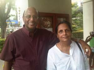 Mrs Ranjini Corea with her husband Vijaya Corea at St. Paul's Church Milagiriya in Colombo Sri Lanka.