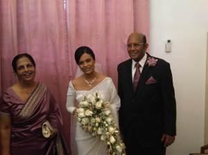Mrs Ranjini Corea with her daughter Sashika Corea on her wedding day and her husband Radio Ceylon/SLBC Broadcaster Vijaya Corea.