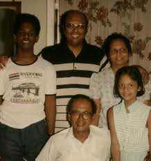 Mrs Ranjini Corea and family with Vernon Corea in the 1980s in Colombo Sri Lanka.