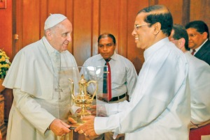 His Holiness Pope Francis with Sri Lanka's new President Maithripala Sirisena during his visit to the island in January 2015. Photograph courtesy of the Daily News Sri Lanka.