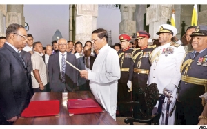 Maithripala Sirisena is sworn in as the President of Sri Lanka - Photograph courtesy of the Daily News in Sri Lanka.