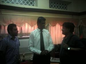 Attorney At Law Nanda Muruttettuwegama the new Chairman of the Sri Lanka Broadcasting Corporation with Ivan Corea - on the right of the picture.