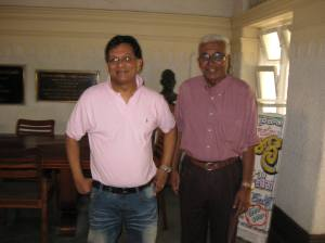 Ivan Corea with the legendary Radio Ceylon Broadcaster K.S.Sivakumaran at the Sri Lanka Broadcasting Corporation.