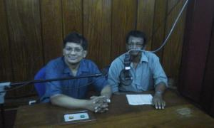 Sri Lanka Broadcasting Corporation legend Nihal Bhareti interviews Ivan Corea in a studio.