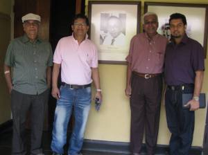 With the photograph of the late Vernon Corea, legendary broadcaster of Radio Ceylon/Sri Lanka Broadcasting Corporation. (Radio Sri Lanka)