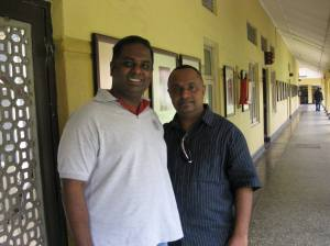 SLBC Newsreader Viran Corea and Snathilal Vairwaranathan at the Sri Lanka Broadcasting Corporation. (Radio Sri Lanka)