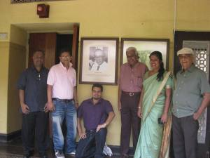 With the photograph of legendary broadcaster Vernon Corea at the Sri Lanka Broadcasting Corporation. (Radio Sri  Lanka)
