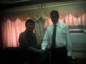 Ivan Corea with the new SLBC Chairman Attorney At Law Nanda Muruttettuwegama - Sri Lanka Broadcasting   Corporation. (Radio Sri Lanka)