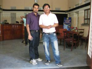 Chris Marlon Perera of the Radio Ceylon Facebook Group with Ivan Corea in the foyer  of the SLBC.