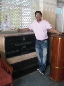 Ivan Corea near the original foundation stone of Radio Ceylon - Sri Lanka Broadcasting Corporation in Colombo.