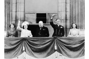 Winston Churchill and the Royal Family on the balcony at Buckingham Palace on VE Day.