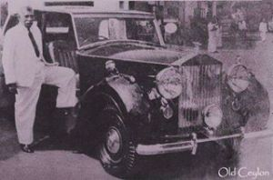 Prime Minister D.S.Senayake of Ceylon with his Rolls Royce.