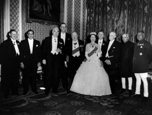 Her Majesty Queen Elizabeth with the Prime Minister of Ceylon Sir John Kotelawala at Buckingham Palace in London in 1955.