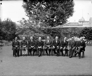 The Prime Minister of Ceylon S.W.R.D.Bandaranaike at 10 Downing Street with Commonwealth Prime Ministers in 1956.