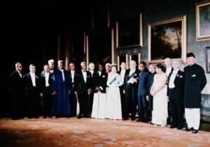 Her Majesty Queen Elizabeth with the Prime Minister of Ceylon Mrs Sirimavo Bandaranaike and Commonwealth Leaders at Buckingham Palace in 1964.