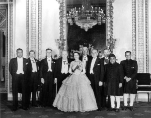 Her Majesty Queen Elizabeth with Prime Minister Dudley Senanayake in 1952 at Buckingham Palace in London.
